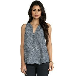 Joie  Fifi Feather Printed Silk Blouse Tank Top